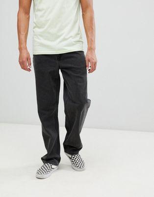 ASOS DESIGN - Jeans larghi nero slavato