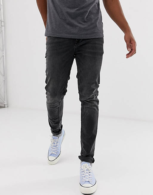 ASOS DESIGN - Jeans skinny nero délavé