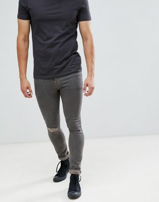 Immagine 1 di ASOS DESIGN - Jeans super skinny grigi da 12,5 once con strappi sulle ginocchia