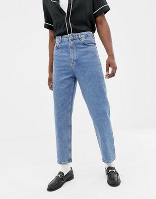 ASOS DESIGN - Jeans vintage blu medio slavato a vita alta