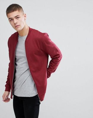ASOS DESIGN Jersey Bomber Jacket In Burgundy