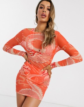 ASOS DESIGN jersey mesh bodycon beach dress in orange dragon print
