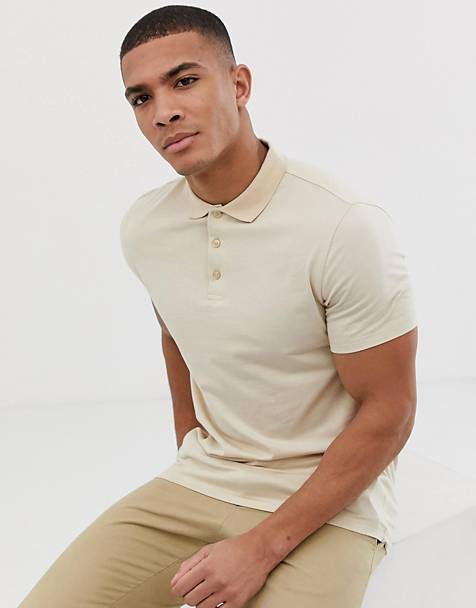 ASOS DESIGN jersey polo in beige
