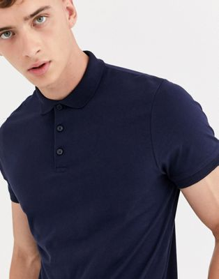 ASOS DESIGN jersey polo in navy