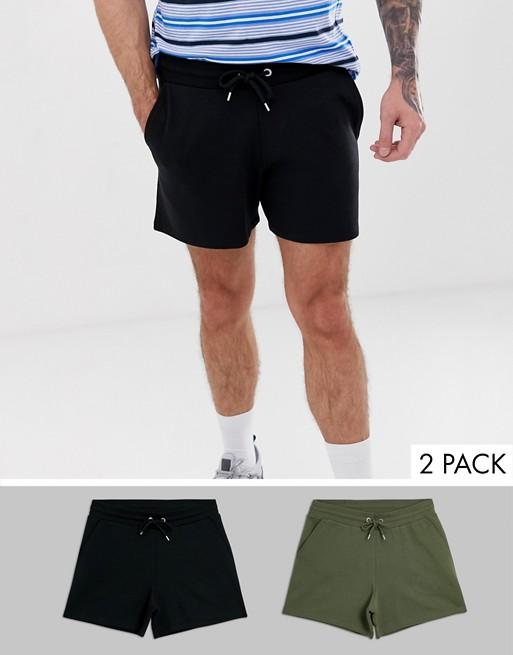 Image 1 of ASOS DESIGN jersey shorts 2 pack in shorter length black/khaki