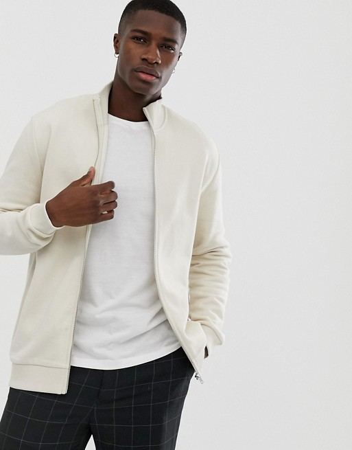 ASOS DESIGN jersey track jacket in beige