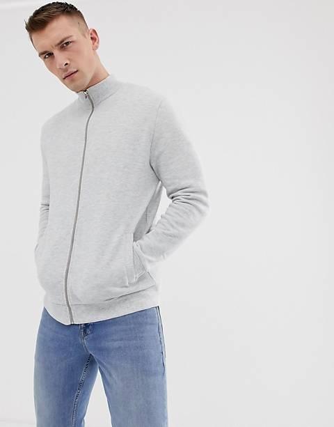ASOS DESIGN jersey track jacket in white marl