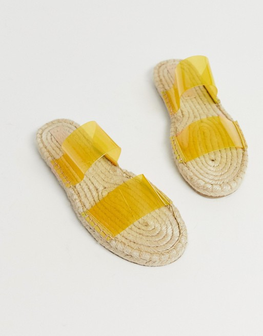 Image 1 of ASOS DESIGN Jetty clear espadrille mules