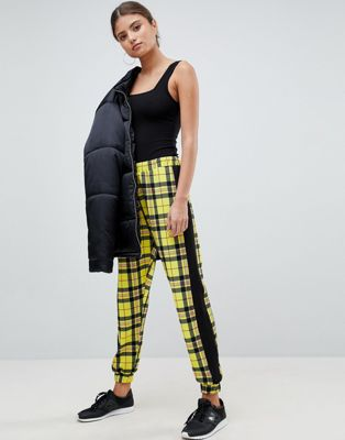 ASOS DESIGN Joggers In Check With Side Stripe