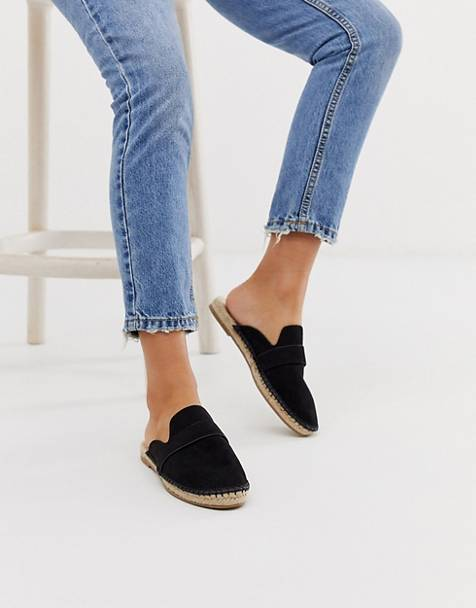 ASOS DESIGN Juggle loafer mule espadrilles in black