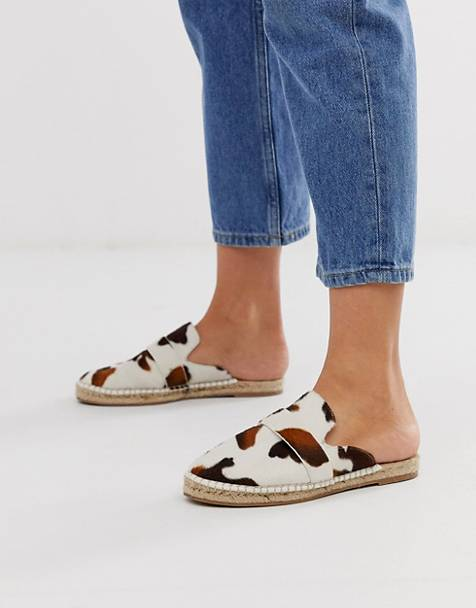ASOS DESIGN Juggle loafer mule espadrilles in cow print