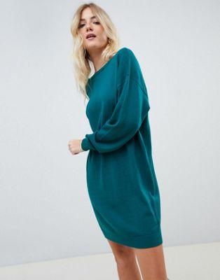 ASOS DESIGN jumper dress with scoop back in eco yarn