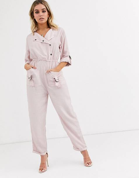 ASOS DESIGN jumpsuit with d-ring detail in washed pink