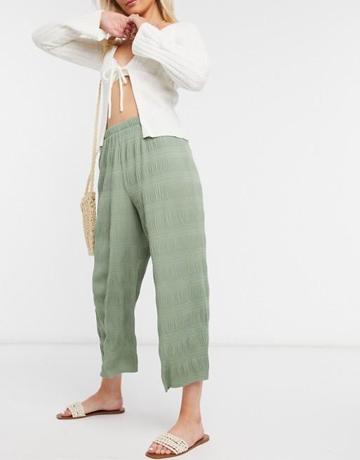 ASOS DESIGN - Jupe-culotte plissée à effet texturé- Kaki pâle Pantalons et leggings femme