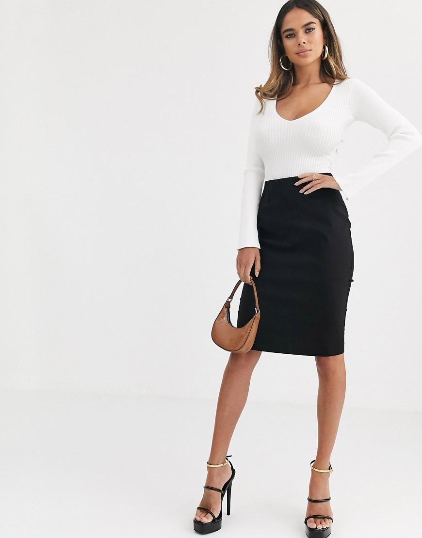 ASOS DESIGN - Jupe fourreau taille haute-Noir