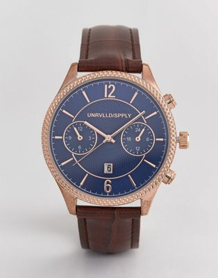 Afbeelding 1 van ASOS DESIGN - Klassiek horloge in bruin en roségoud met contrasterende marineblauwe wijzerplaat