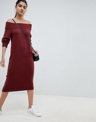 ASOS DESIGN knit dress in off shoulder midi shape