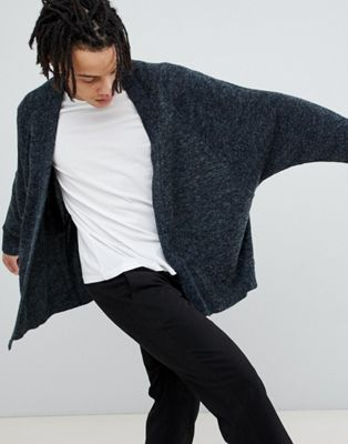 ASOS DESIGN Knitted Batwing Cardigan In Charcoal