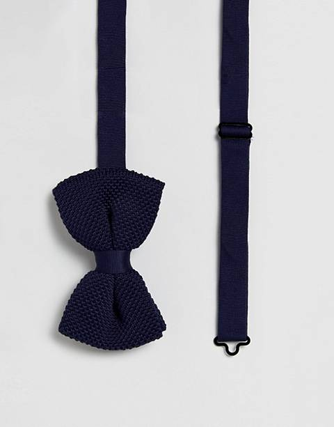 ASOS DESIGN knitted bow wedding tie in navy