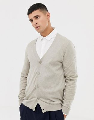 ASOS DESIGN Knitted Cardigan In Oatmeal Twist