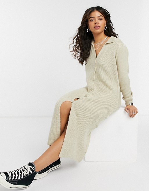 ASOS DESIGN knitted dress with collar detail and button up front