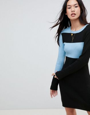ASOS DESIGN Knitted Mini Dress In Colour Block