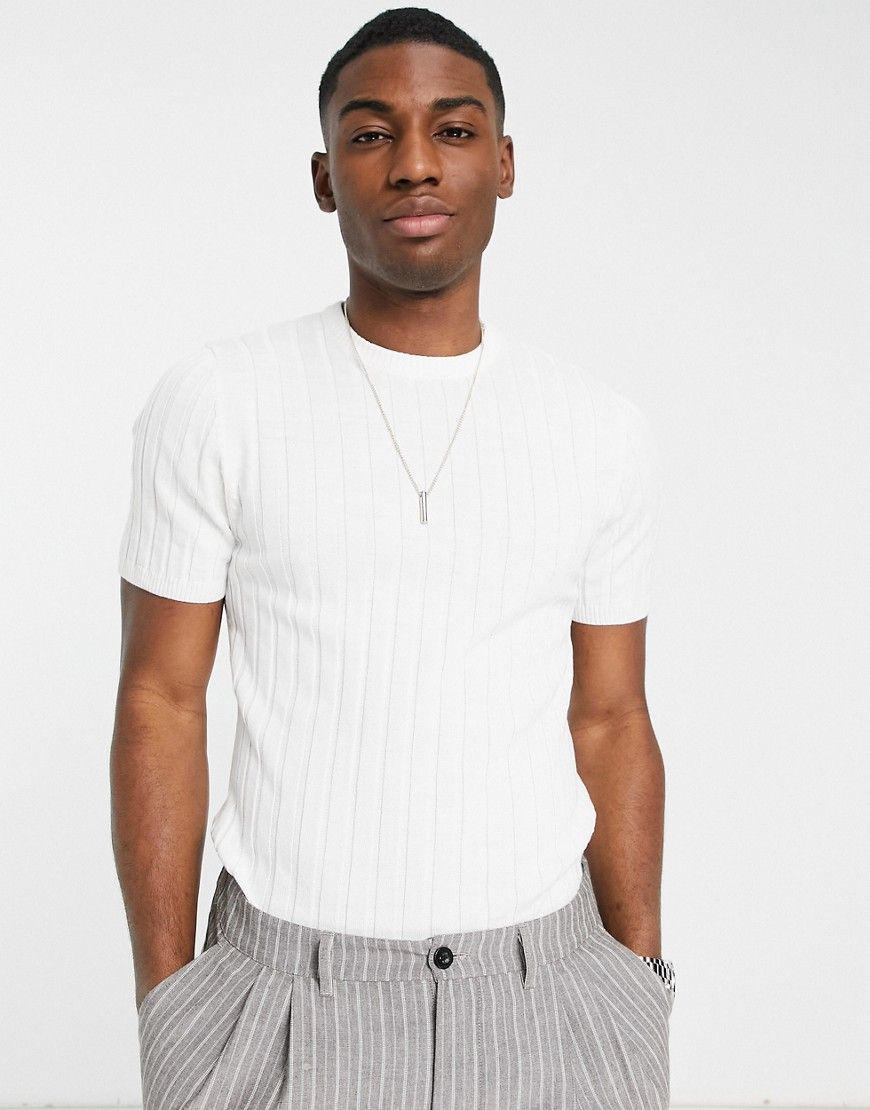 1940s Men's Shirts, Sweaters, Vests ASOS DESIGN knitted muscle fit rib t-shirt in white £18.00 AT vintagedancer.com