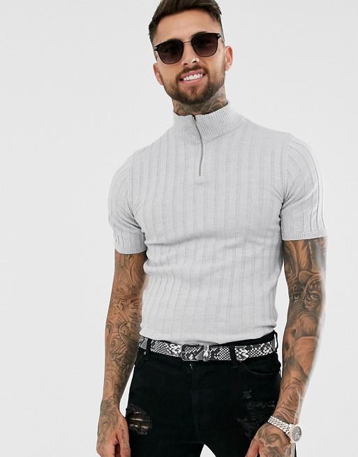 29ed74b8 ASOS DESIGN knitted ribbed half-zip t-shirt in light grey twist | ASOS