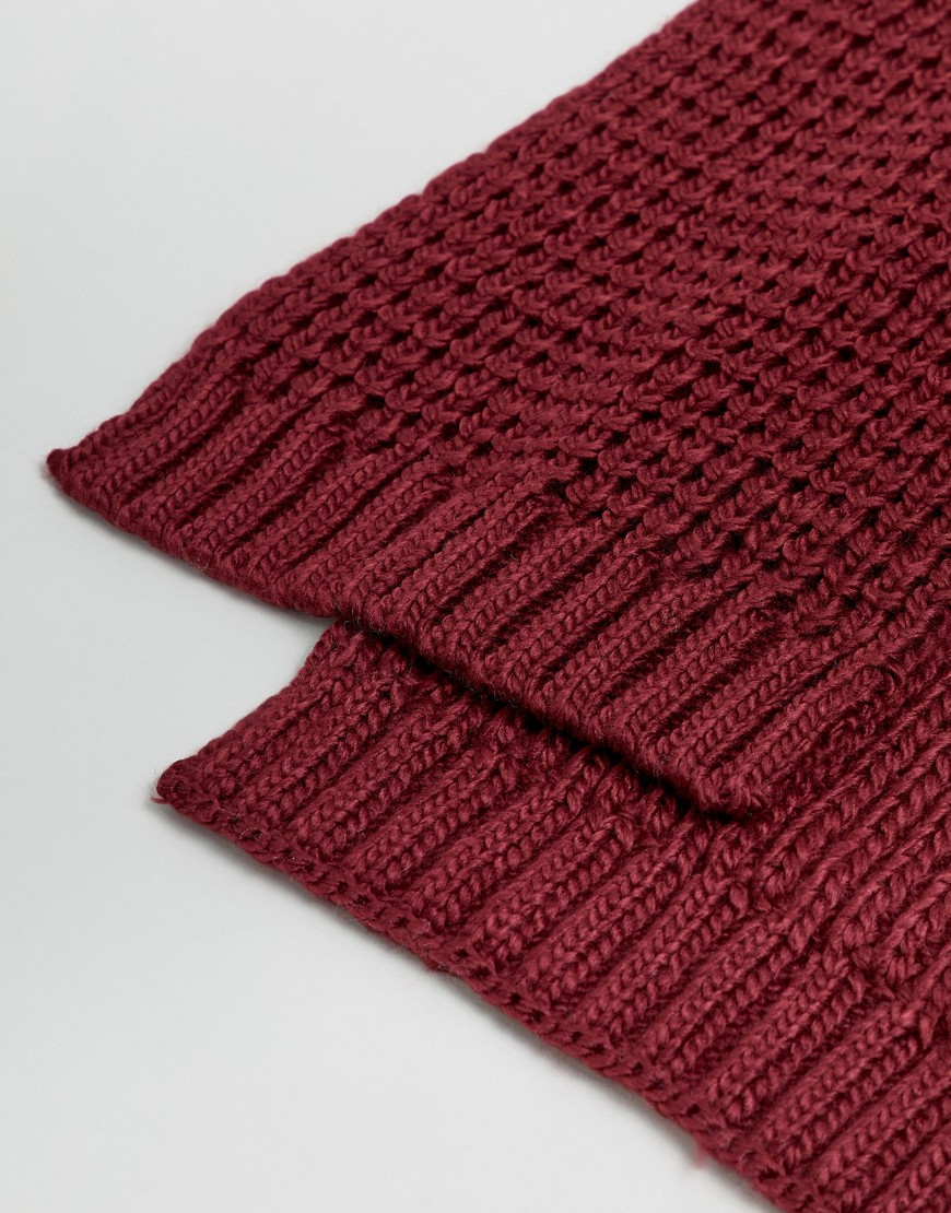 Asos Design Knitted Scarf In Burgundy by Asos Design