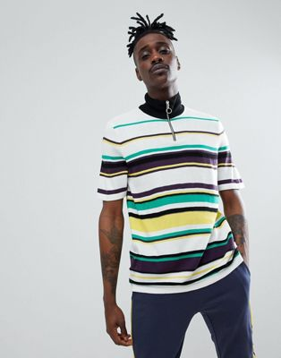Image 1 of ASOS DESIGN knitted stripe turtle neck t-shirt with zip
