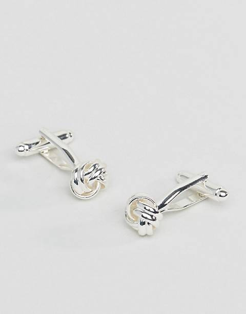 ASOS DESIGN knot cufflinks in silver tone
