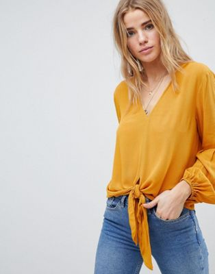 ASOS DESIGN Knot Front Top in Crinkle