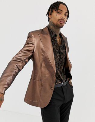 ASOS DESIGN – Kopparfärgad 70-tals blazer i metallic