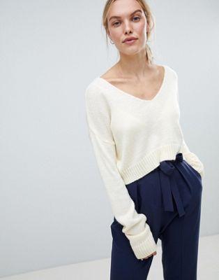 Bild 1 av ASOS DESIGN – Kort tröja i fluffigt garn med bara axlar