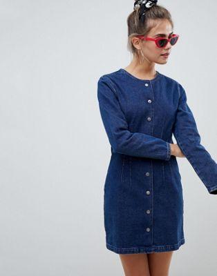 Bild 1 von ASOS DESIGN – Kragenloses Jeanskleid in mittelblauer Waschung