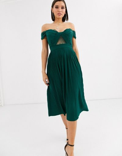 ASOS DESIGN lace and pleat bardot midi dress