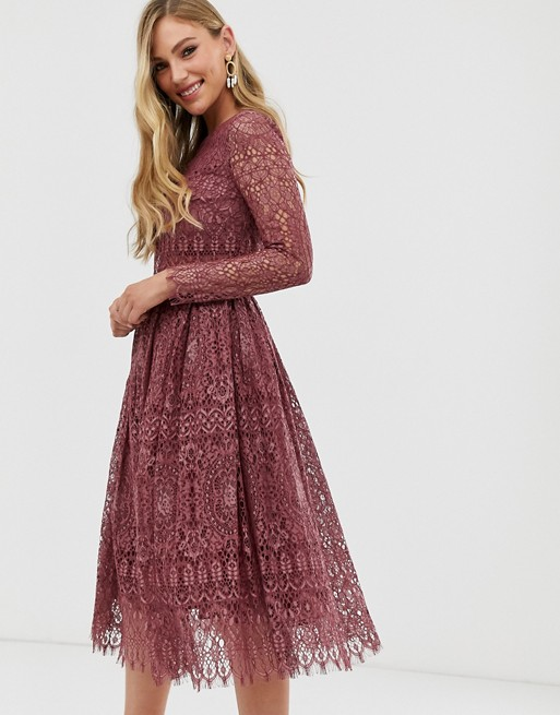 Image result for ASOS DESIGN lace long sleeve midi prom dress