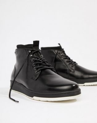 ASOS DESIGN Lace Up Boots In Black Leather