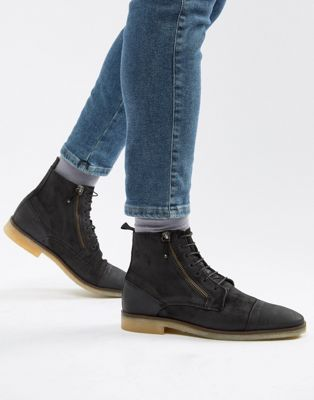 Image 1 of ASOS DESIGN lace up boots in black suede with zip detail and natural sole