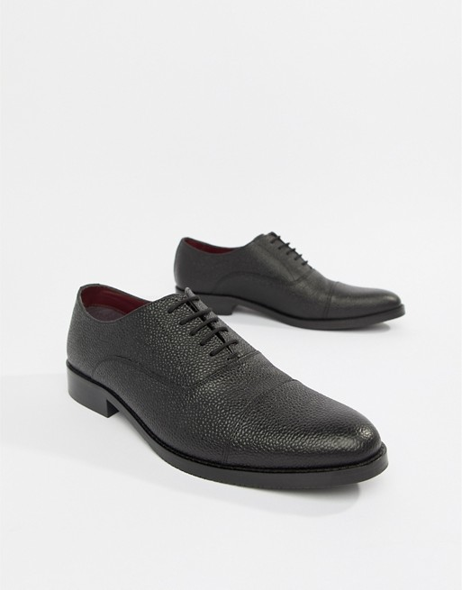Image 1 of ASOS DESIGN lace up shoes in black scotch grain leather