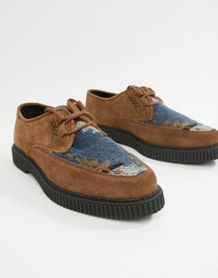 ASOS DESIGN lace up shoes in tan suede with aztec print and creeper sole