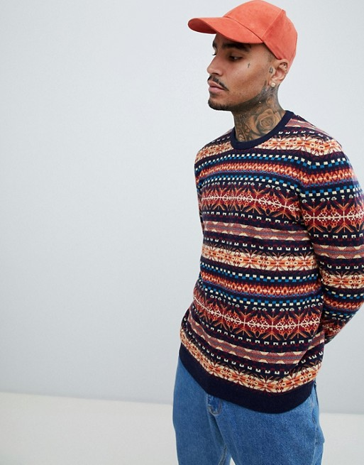 ASOS DESIGN lambswool wool blend fairisle sweater