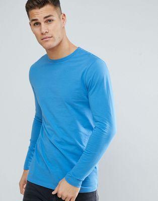 ASOS Design - Lang T-shirt met ronde hals en lange mouwen in blauw