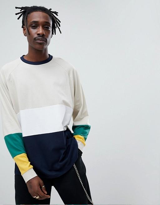 ASOS DESIGN – Langärmliges Oversize-Shirt mit leuchtendem Farbblockdesign