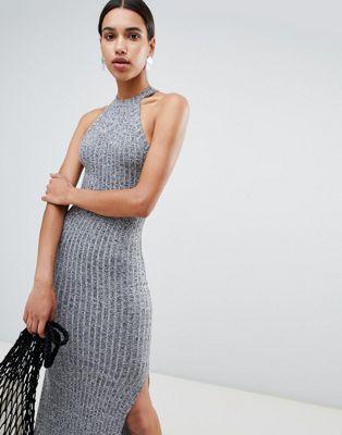 Afbeelding 1 van ASOS DESIGN - Lange jurk van gemêleerde ribstof met racernek