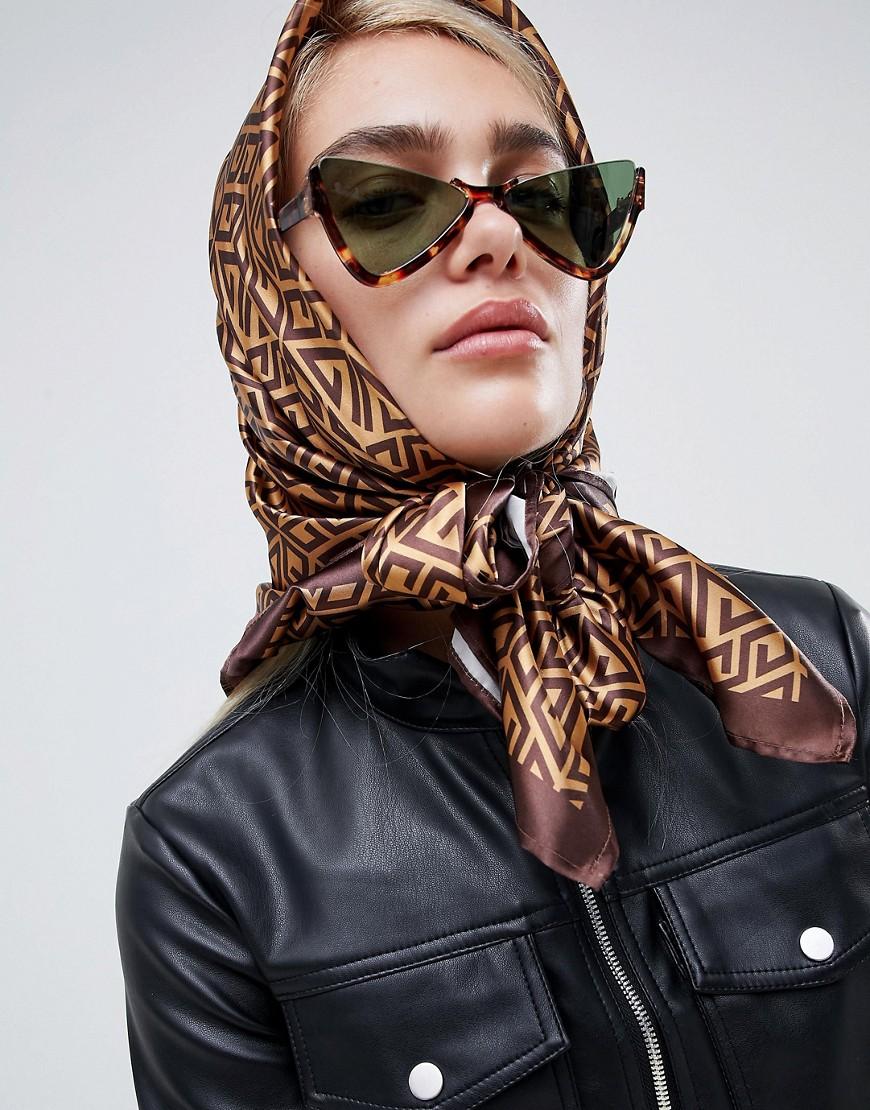 asos-design-large-square-polysatin-headscarf_neckscarf-in-monogram by asos-design