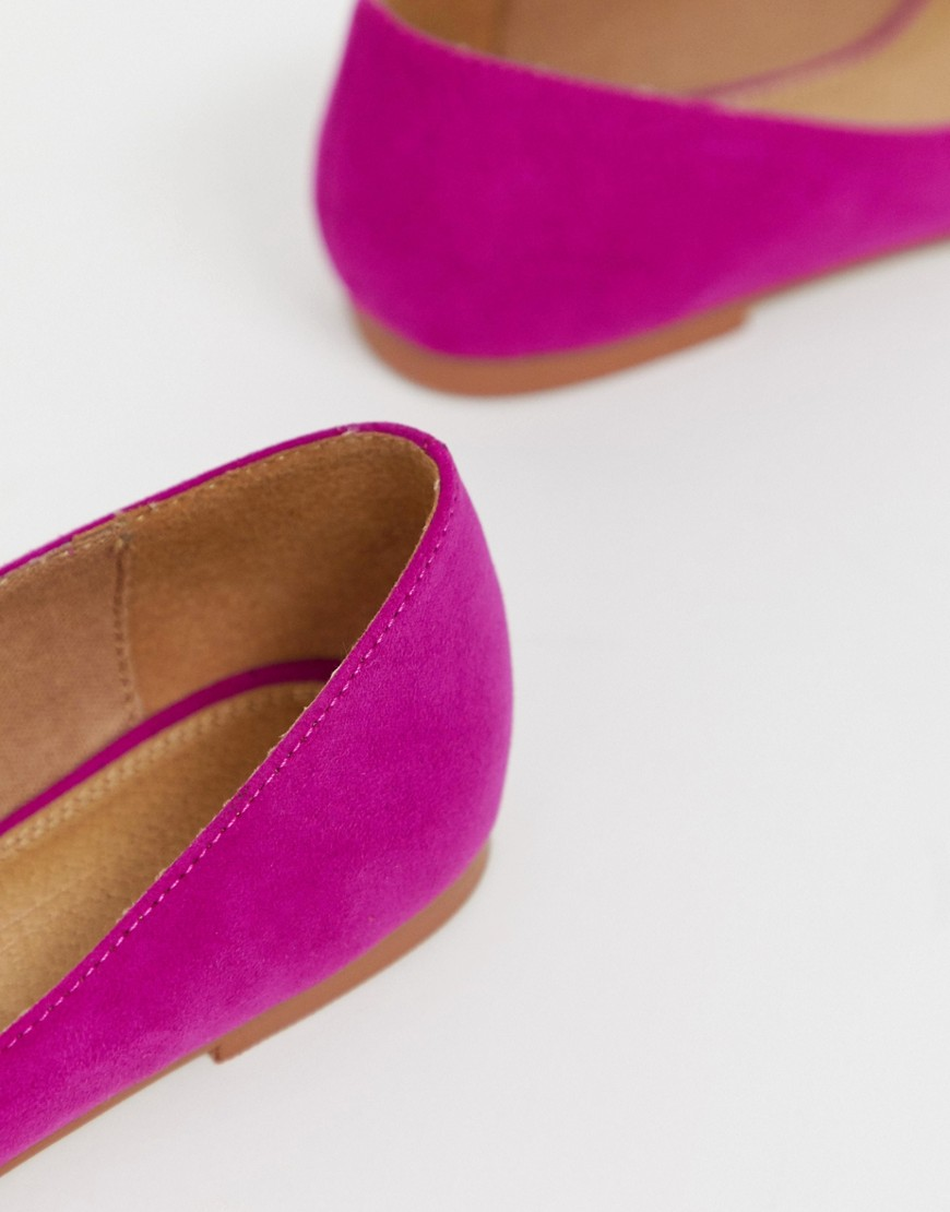 Asos Design Latch Pointed Ballet Flats In Fuchsia by Asos Design
