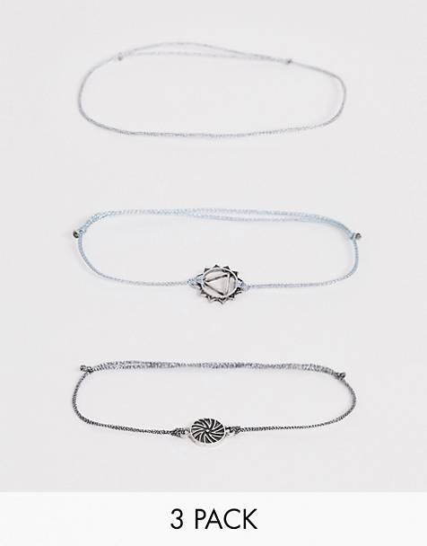ASOS DESIGN layered bracelet pack with fabric and charm interest in silver