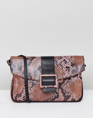 ASOS DESIGN leather 90s shoulder bag in snake