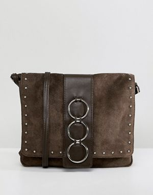 Asos Design Leather And Suede Ring Cross Body Bag